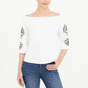 J. Crew Factory Embroidered Off-the-shoulder Top